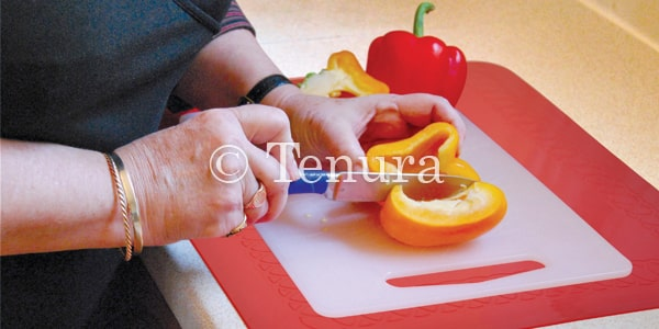 Anti-Slip Mat under Chopping Board-Old Lady Chopping Veg