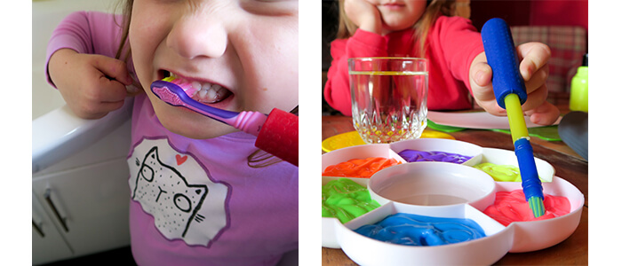 Children's Cutlery Grips on Paintbrush and Toothbrush in use