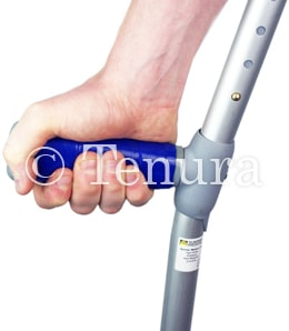 Crutch handle wrapped with Grip Strips
