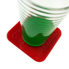 Tenura Anti Slip Silicone Rubber Square Coaster (Pack of 4)